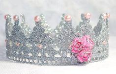 Plata /Silver que corona encaje y rosa corona de encaje /