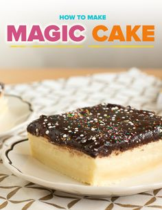 Give your classic vanilla cake recipe an upgrade with this recipe that includes custard, chocolate ganache and rainbow sprinkles. Rainbow Bread, Magic Custard Cake, Glass Baking Pan, Cake Recipes, Dessert Recipes, Just Desserts, Holiday Desserts, Rainbow Sprinkles, Chocolate Ganache