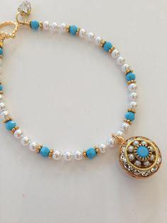 Swarovski Turquoise, Pearl, and Crystal Charm Bracelet Hippie Jewelry, Pearl Jewelry, Beaded Jewelry, Beaded Necklace, Ankle Bracelets, Jewelry Bracelets, Jewelery, Necklaces, Jewelry Patterns