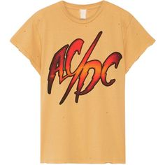 MadeWorn AC/DC distressed printed cotton-jersey T-shirt (550 BRL) ❤ liked on Polyvore featuring tops, t-shirts, logo tees, ripped t shirt, graphic t shirts, cotton jersey and destroyed t shirt