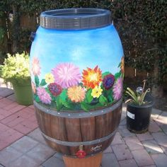 Another painted rain barrel