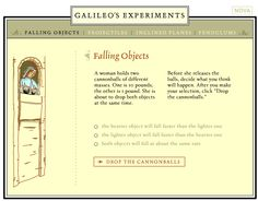 Great website for teaching about gravity! Interactive activity for Galileo's experiment.
