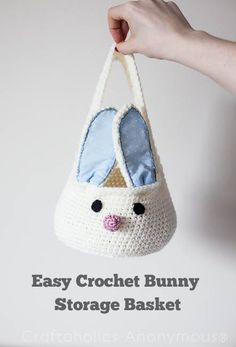 Easy Crochet Bunny Storage Basket By Linda - Free Crochet Pattern - (craftaholicsanonymous)