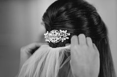 Swarovski crystal and pearl hair comb by Kelly Elizabeth Designs - Real Bride: Kate and Stephen at the Primrose Cottage on Kelly Elizabeth Style