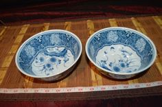 Two Blue & White Porcelain Asian Soup / Cereal Bowl with Flowers Butterflies