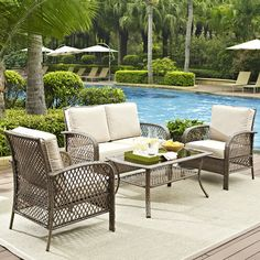 Seacrest Home Tribeca 4 Piece Deep Seating Group with Cushion