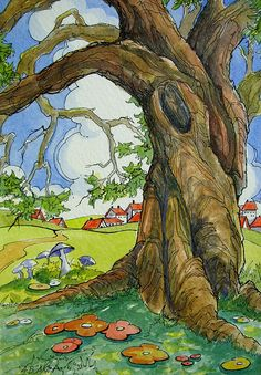 Vintage Storybook Series The Old Village Oak