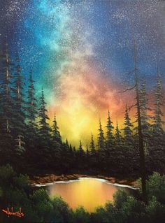 Copyright /Nick Hankins teaches Bob Ross classes travels extensively does a wo Natur Spiegelung Acry Simple Acrylic Paintings, Nature Paintings, Acrylic Painting Canvas, Abstract Canvas, Canvas Art, Diy Canvas, Abstract Landscape Painting, Landscape Art, Landscape Paintings