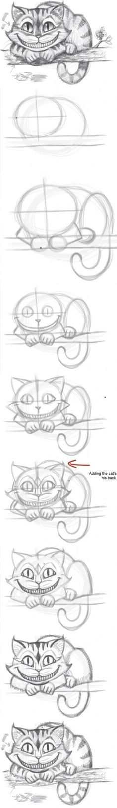 DIY Easily Draw the Cheshire Cat Tutorial | Drawing Tips, Drawing Techniques, Drawing Ideas, Drawing Art, Disney Drawing Tutorial, Drawing Stuff, Easy Cat Drawing, Sketch Ideas, Sketch Drawing