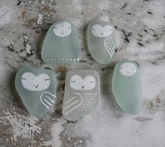 Painted sea glass - I can't stand how cute these are!!