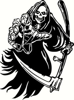 Grim Reaper Reaching Vinyl Cut Out Decal, Sticker in your choice of Color