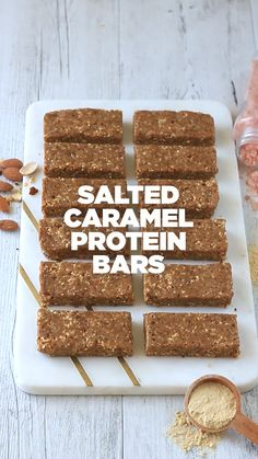 No bake chocolate peanut butter protein bars that taste just like a peanut butter cup. This low carb protein bar recipe will be your new favorite snack to keep in your fridge and enjoy all week long! Vegan Protein Bars, Protein Bar Recipes, Protein Foods, Gourmet Recipes, Snack Recipes, Dessert Recipes, Whey Protein, Potato Recipes, Lactose Free Protein Bars