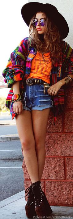 Love the jacket.  Hippie Street Style #serape boho Find more fashion ideas on www.popmiss.com