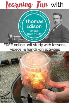 Want an easy & free way to add learning fun to your homeschool? Check out this FREE Thomas Edison Online Unit Study! With lessons, videos, & hands-on activities, your kids will love learning about this famous inventor.