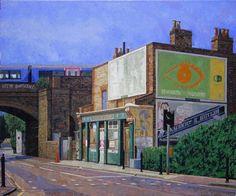 The Albion Pub, by Doreen Fletcher Mile End Park, London Painting, East End London, London History, London Art, London Life, Brick Lane, Building Art, Pictures To Paint