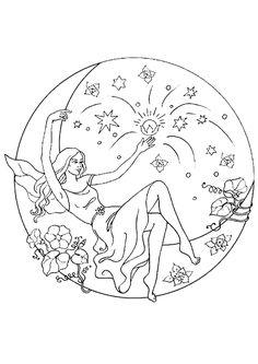 Coloriage d'un mandala représentant dame nature