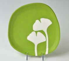 appetizer plate  ginkgo leaves in chartreuse green  by hopejohnson