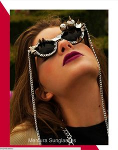 Stardust Magazine features Mercura NYC silver bubble spike leash sunnies styled by Marie Vial