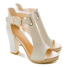 Simple Buckle and Chunky Heel Design Sandals For Women (WHITE,38) in Sandals | DressLily.com