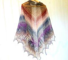 Knitted triangular scarf wool shawl Smoke Ash by LidiaAndVary