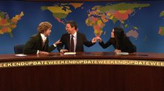 Weekend Update co-anchors Seth Meyers and Cecily Strong get their weekly fist bump in despite Jebidiah Atkinson's (Taran Killam) best efforts | Saturday Night Live | SNL