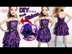 DIY dress from ribbon Sewing Barbie Clothes, Barbie Sewing Patterns, Doll Dress Patterns, Clothing Patterns, Pattern Sewing, Pants Pattern, Barbie Et Ken, Barbie Dolls Diy, Barbie Dress
