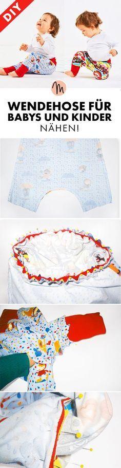 Wendehose für Babys und Kinder nähen - Gratis-Anleitung und kostenloses Schnittmuster via Makerist.de Größe 74 - 86