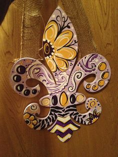Fleur De Lis wood door/wall hanger custom by MyDadsScraps on Etsy