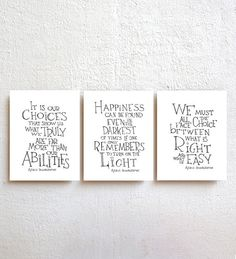 ::::: Inspirational Hand-Lettered Design by SimpleSerene ::::: Set of 3 - Dumbledore quote prints ★ Please select a size >>>>>> 5x7, 8.5x11,