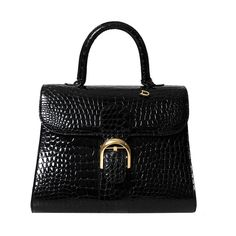 Delvaux Brillant Black Croco Brillant MM | From a collection of rare vintage handbags and purses at https://www.1stdibs.com/fashion/accessories/handbags-purses/