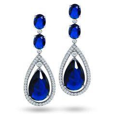 Sapphire Blue Color CZ Silver Oval Double Teardrop Chandelier Earrings 2.5 in