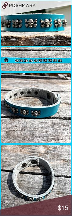 Listing! Blue/Teal Small Skull Cuff! NEW! Faux leather. Two snaps for adjustable sizing. Beautiful aquamarine blue! NWOT only worn to model. Boutique Jewelry Bracelets