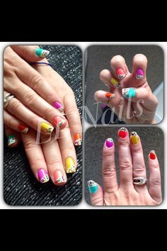 Multi coloured nail tips
