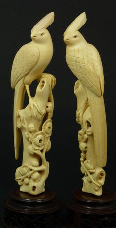 A Pair og Antique Chinese Carved Ivory Paradise Birds on Trees. 19th c.