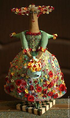 """Купить Тётушка """"Лето"""" - ангел, лето, маки, цветы, ангел с цветами, примитив, ткань хлопок"""
