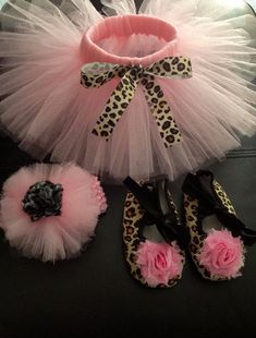 Infant Tutu Outfit with Pink 0-3 Month Tutu, Leopard Shoes with Chiffon Flower and Adorable Tulle Puff Headband. 0-3 Month Pink Leopard Tuty on Etsy, $22.00