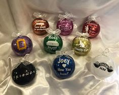 In this set you will receive 9 beautiful ornaments all based on the popular tv show friends. Fans of the show will recognize these wonderfully funny quotes from each character. They each measure roughly inches around. They are all shatterproof Christmas Ornament Sets, Diy Christmas Ornaments, Diy Christmas Gifts, Christmas Bulbs, Christmas 2019, Christmas Ideas, I Love My Friends, Friends Tv Show, Gifts For Friends