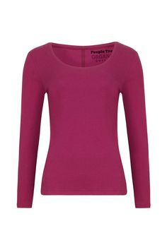 100% organic Fairtrade Long-sleeved top with scoop neck and centre back seam. A fuss-free basic in vivid Berry.