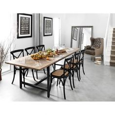The parquet topped table adds warmth and substance to a bright light room, but doesn't look heavy. While I like these chairs, lighter or brighter might be a better match in the igloo Timber Dining Table, Dining Table Chairs, Dining Room Inspiration, Dream Decor, Country Kitchen, Home Furnishings, Sweet Home, New Homes, Home Decor