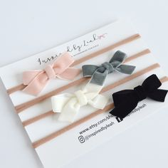 Beautiful and delicate velvet bows in for colors to choose from! Also available has hair clips.