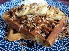 Gluten Free Banana Coconut Waffles with Vegan Coconut Whip Cream