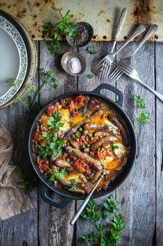 Baked chipolatas with cherry tomatoes & eggplant | heneedsfood.com