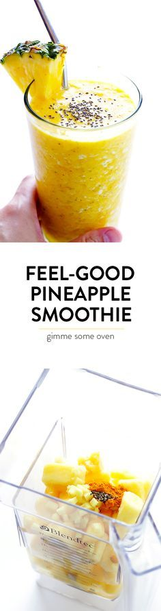 This Feel-Good Pineapple Smoothie recipe is made of deliciously sweet ingredients that also happen to have healthy anti-inflammatory benefits. | http://gimmesomeoven.com