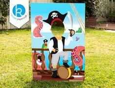Printable Pirate Party Photo Prop / DIY / personalise customise - by Kooee Papercraft by KooeePapercraft on Etsy Decoration Pirate, Pirate Party Decorations, Pirate Photo Booth, Diy Photo Booth, Pirate Party Games, Pirate Theme, Deco Pirate, Pirate Pictures, Bateau Pirate