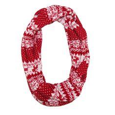 CTM Womens Holiday Nordic Pattern Infinity Loop Scarf