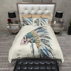 Blue Feather Indian Headdress Skull Duvet Bedding Sets