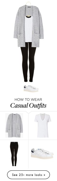 """Weekend Casual basics - long cardigan, drapey white vneck tshirt, black Moto skinnies, and Stan Smith Adidas"" by wrymommy on Polyvore featuring Topshop, Monrow, MANGO, Madewell and adidas Originals"