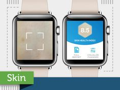 Top AppleWatch APPs via the GraphicJungle Pinterest board: ••SKIN•• by ModiFace • on time for 2015-04-24 Fri launch ; ) • features: scan any body skin part w/ iPhone, preview in Watch to evaluate skin health: dryness / flakiness / redness etc • incl. impact parameters such as weather / location • skin-care recommendations • $0