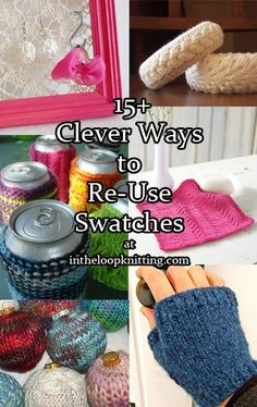 Most of us hate knitting swatches for projects. We know we have to do it but hate spending the time and yarn before we get to the real project. These clever ideas for re-using your swatches will get you excited about trying out new stitches and testing yarn for your large projects, as well as get some of those leftover swatches out of your yarn stash.