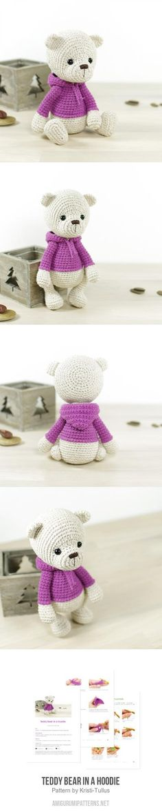 "Teddy Bear In A Hoodie Amigurumi Pattern, ~7.5"" tall"